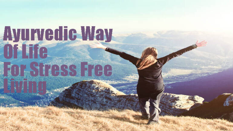 Ayurvedic Way of life for stress free living white nature mountain background
